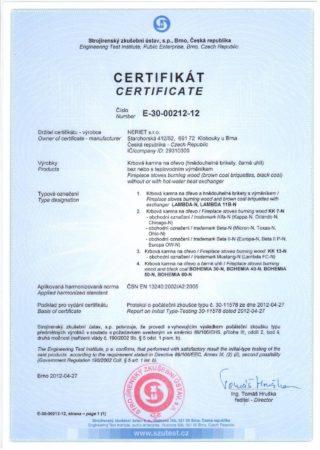 certifikát krbová kamna